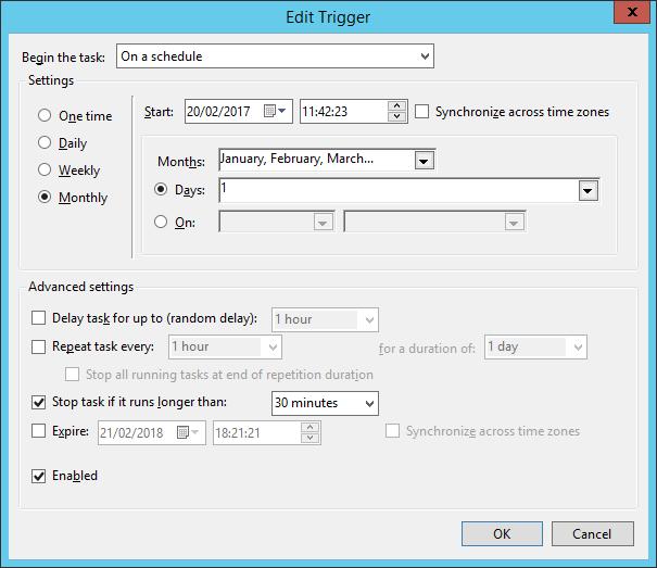 Configuration du trigger pour un déclenchement le 1 de chaque mois