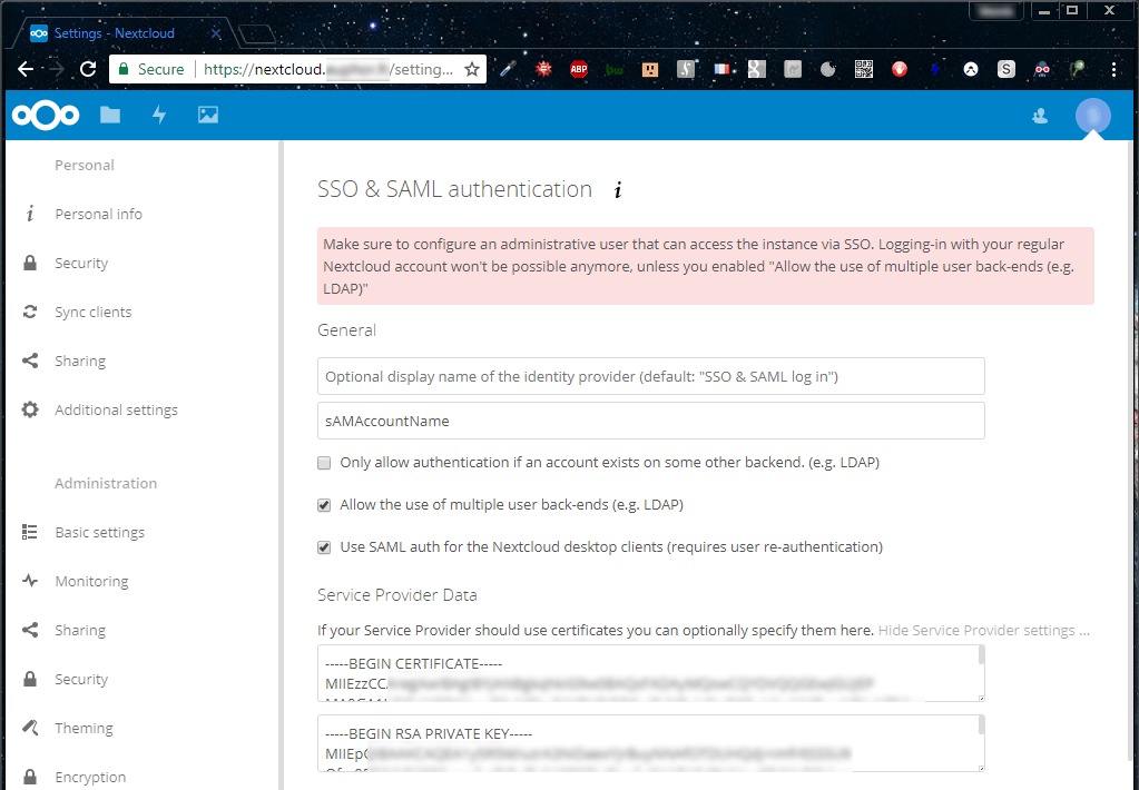 Nextcloud - SSO & SAML Authentication - Service Provider Data