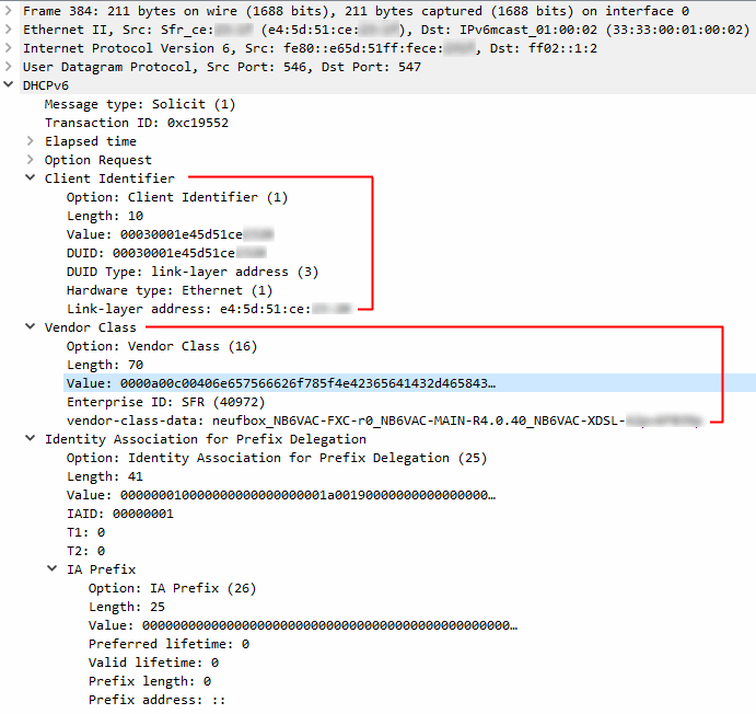 Requête DHCPv6 avec les deux options à reproduire