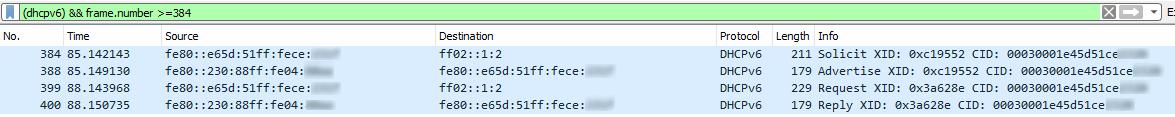 Capture de la requête DHCPv6